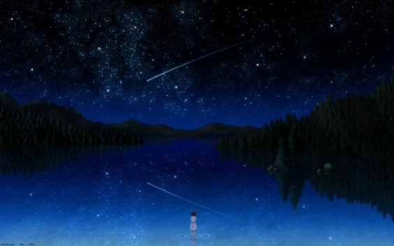 mountains landscapes trees skyline night stars darker than black lakes reflections anime girls 25_wallpaperswa.com_73